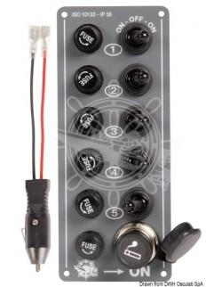 Pannello 5 interruttori + presa accendino